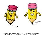 cartoon happy pencils with... | Shutterstock .eps vector #242409094