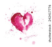 watercolor pink heart for...