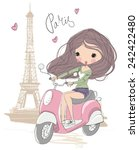 The Girl On A Scooter In Paris