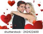 beautiful bride embracing her... | Shutterstock . vector #242422600