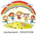 Kids jumping with joy on a hill under rainbow, colorful cartoon | Shutterstock vector #242425138