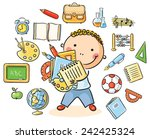 cartoon schoolboy with lots of... | Shutterstock .eps vector #242425324