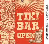 Vintage Wooden Sign   Tiki Bar...