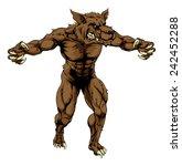 a mean looking werewolf wolf... | Shutterstock .eps vector #242452288