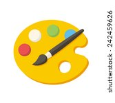 paint brush with palette ... | Shutterstock .eps vector #242459626