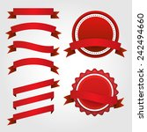 set of red ribbon and badge | Shutterstock .eps vector #242494660