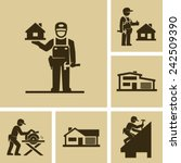 carpenter builder vector icon... | Shutterstock .eps vector #242509390
