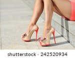 woman legs in high heels close... | Shutterstock . vector #242520934