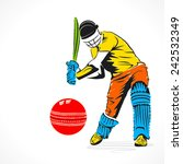 colorful cricket player hit the ... | Shutterstock .eps vector #242532349