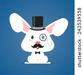 happy rabbit with top hat and... | Shutterstock .eps vector #242539558
