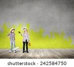 two children of school age... | Shutterstock . vector #242584750