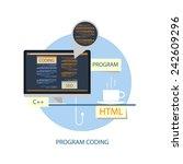 program coding theme on white... | Shutterstock .eps vector #242609296