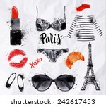 set paris with various symbols... | Shutterstock .eps vector #242617453