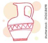 Hand Drawn Jar On Abstract...