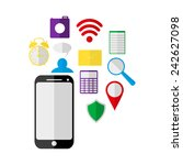 mobile phone and icons  | Shutterstock .eps vector #242627098