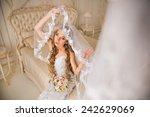 beautiful bride in her bright... | Shutterstock . vector #242629069