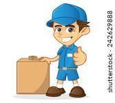 delivery man holding package | Shutterstock .eps vector #242629888
