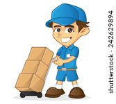 delivery man holding trolley | Shutterstock .eps vector #242629894