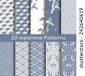 set of ten japanese patterns | Shutterstock .eps vector #242640619