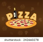 pizza concept with wine bottle... | Shutterstock .eps vector #242660278