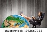young attractive businesswoman... | Shutterstock . vector #242667733