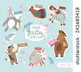 cute farm animals. horse ... | Shutterstock .eps vector #242685418