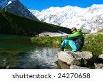 hiker in caucasus mountains   Shutterstock . vector #24270658