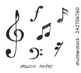hand drawn music notes. vector... | Shutterstock .eps vector #242706760