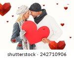 smiling couple in winter...   Shutterstock . vector #242710906