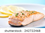 fillet of salmon on a plate | Shutterstock . vector #242722468