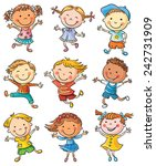 nine happy cartoon kids dancing ... | Shutterstock .eps vector #242731909