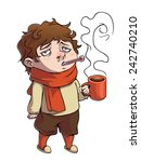 color sick guy with cup and... | Shutterstock .eps vector #242740210