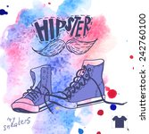 hand drawn pair of sneakers | Shutterstock . vector #242760100