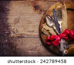 vintage silverware decorated... | Shutterstock . vector #242789458