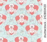pattern with teddy bear and... | Shutterstock .eps vector #242803420