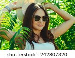 cheerful fashionable woman in... | Shutterstock . vector #242807320