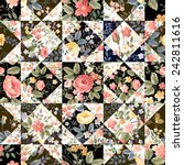 seamless patchwork pattern with ... | Shutterstock .eps vector #242811616