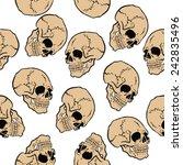 skull seamless pattern on white | Shutterstock .eps vector #242835496