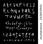 alphabet and numbers   hand... | Shutterstock .eps vector #242853943
