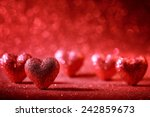 valentine hearts on abstract... | Shutterstock . vector #242859673