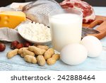food high in protein on table ... | Shutterstock . vector #242888464
