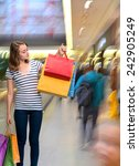 young teen girl with shopping... | Shutterstock . vector #242905249