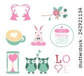 vector set of valentines day... | Shutterstock .eps vector #242921134