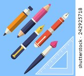 vector writing and paint tools  | Shutterstock .eps vector #242925718