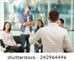 young man is sharing his... | Shutterstock . vector #242964496