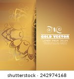 Gold Background With Floral...