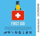 first aid kit concept with hand ... | Shutterstock .eps vector #242983048