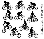 set of people on bikes... | Shutterstock .eps vector #242983240