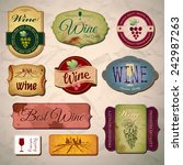 set of wine vintage labels | Shutterstock .eps vector #242987263
