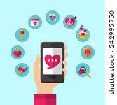 dating smartphone app concept... | Shutterstock .eps vector #242995750